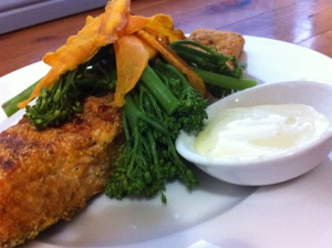 Almond and Polenta Crusted Salmon with Crispy Sweet Potato Strips and Aioli